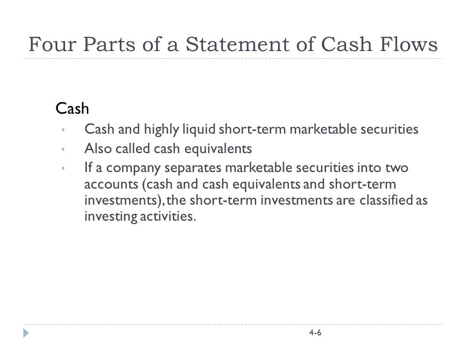 Classification of Cash Flows Operations -- cash flows related to selling goods and services; that is, the principle business of the firm.