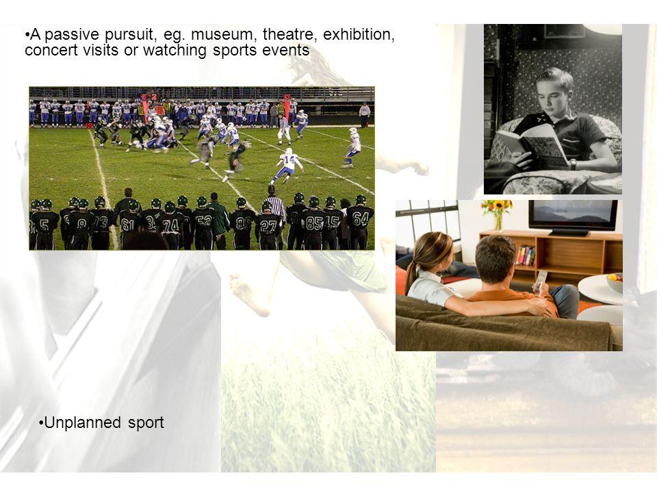 A passive pursuit, eg. museum, theatre, exhibition, concert visits or watching sports events Unplanned sport