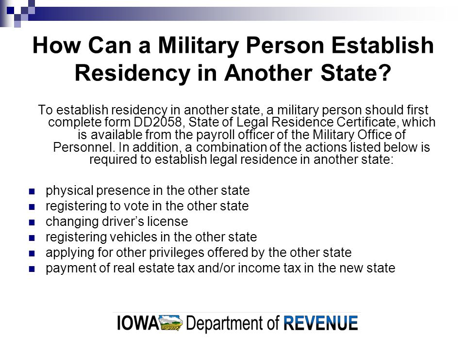 How Can a Military Person Establish Residency in Another State.