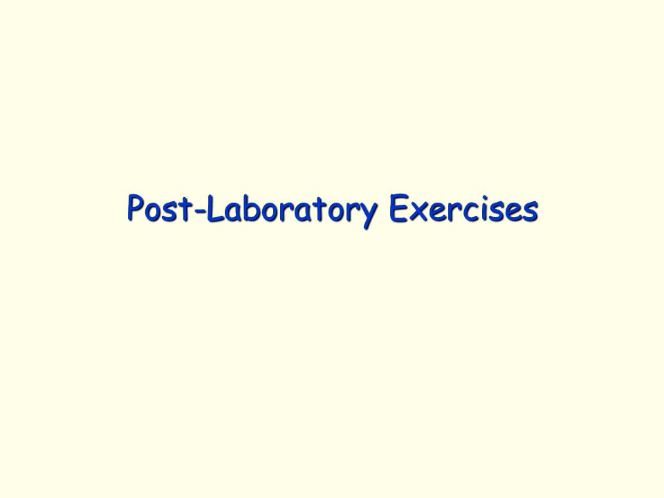 Post-Laboratory Exercises