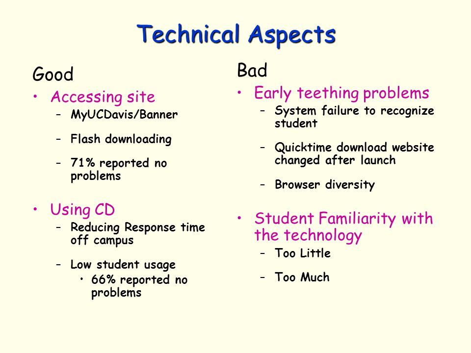 Technical Aspects Good Accessing site –MyUCDavis/Banner –Flash downloading –71% reported no problems Using CD –Reducing Response time off campus –Low student usage 66% reported no problems Bad Early teething problems –System failure to recognize student –Quicktime download website changed after launch –Browser diversity Student Familiarity with the technology –Too Little –Too Much