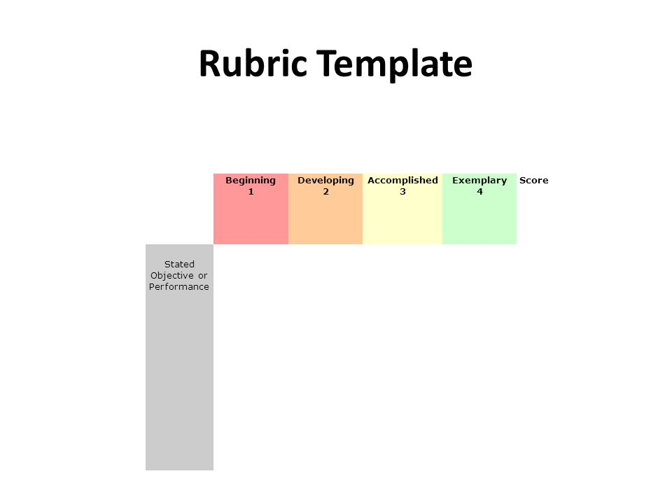 Rubric Template Beginning 1 Developing 2 Accomplished 3 Exemplary 4 Score Stated Objective or Performance Description of identifiable performance characteristics reflecting a beginning level of performance.