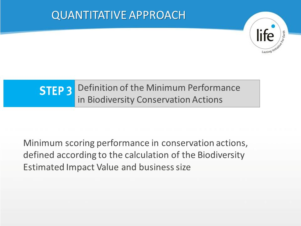 Slide1939 Minimum scoring performance in conservation actions, defined according to the calculation of the Biodiversity Estimated Impact Value and business size QUANTITATIVE APPROACH Definition of the Minimum Performance in Biodiversity Conservation Actions