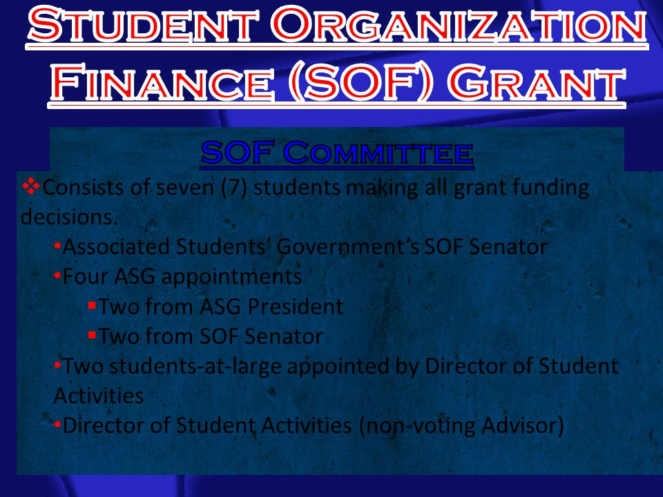  Consists of seven (7) students making all grant funding decisions.