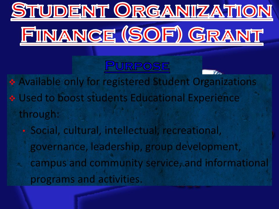  Available only for registered Student Organizations  Used to boost students Educational Experience through: Social, cultural, intellectual, recreational, governance, leadership, group development, campus and community service, and informational programs and activities.