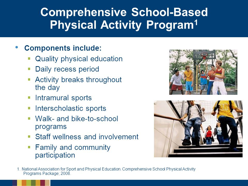Comprehensive School-Based Physical Activity Program 1 Components include:   Quality physical education   Daily recess period   Activity breaks