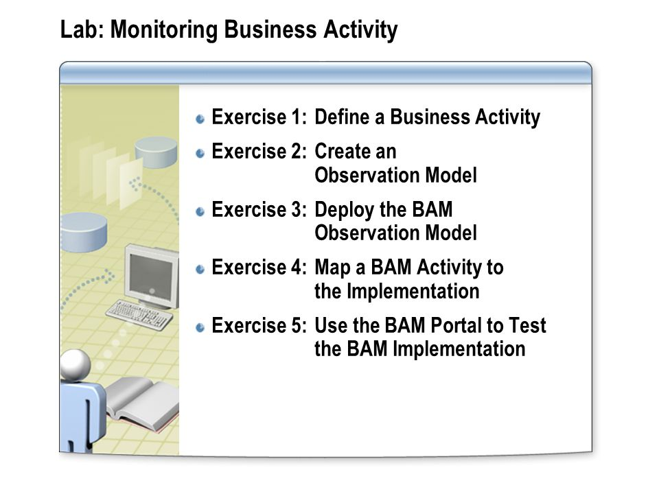 Lab: Monitoring Business Activity Exercise 1:Define a Business Activity Exercise 2:Create an Observation Model Exercise 3:Deploy the BAM Observation M