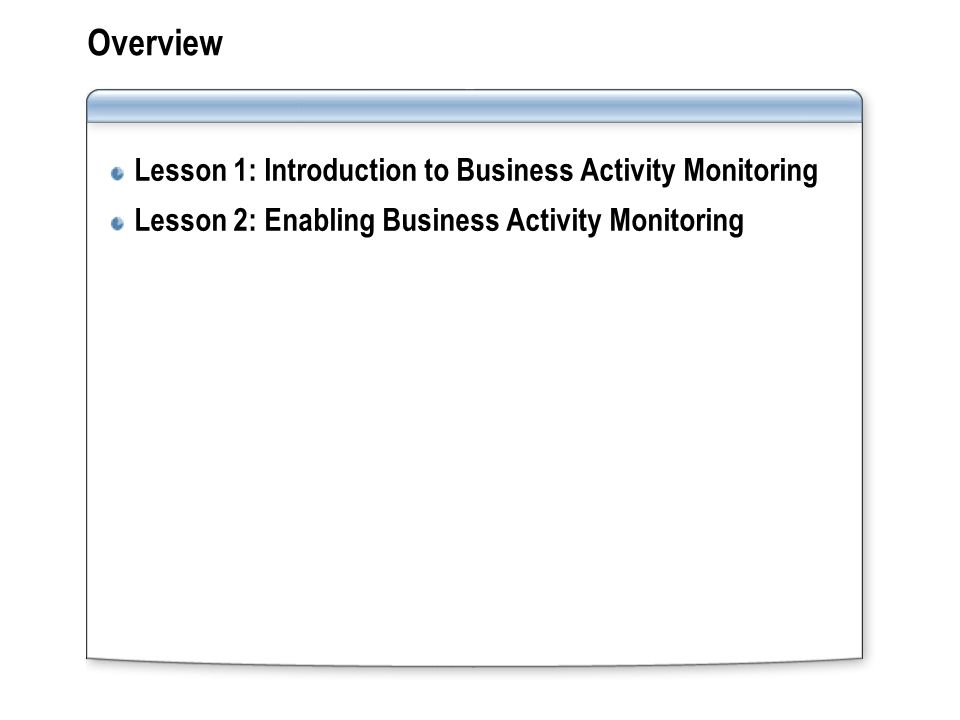 Overview Lesson 1: Introduction to Business Activity Monitoring Lesson 2: Enabling Business Activity Monitoring