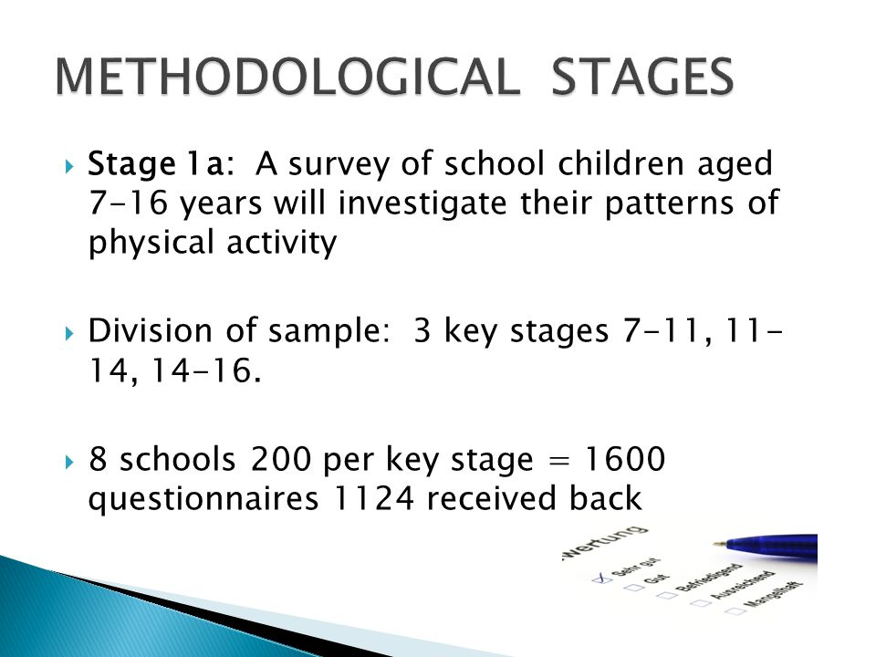  Stage 1a: A survey of school children aged 7-16 years will investigate their patterns of physical activity  Division of sample: 3 key stages 7-11, 11- 14, 14-16.