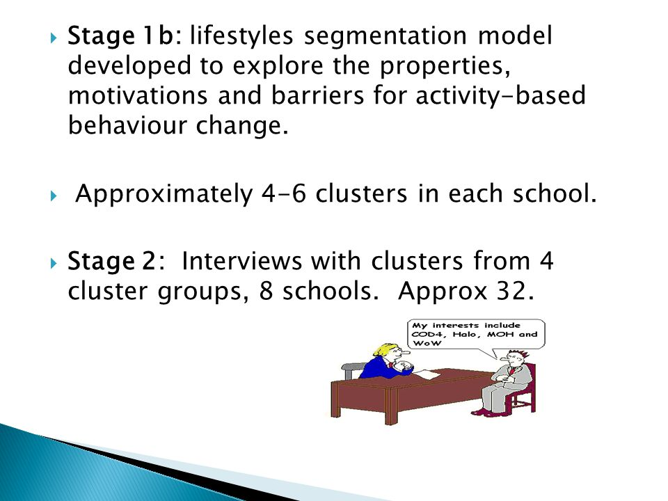  Stage 1b: lifestyles segmentation model developed to explore the properties, motivations and barriers for activity-based behaviour change.
