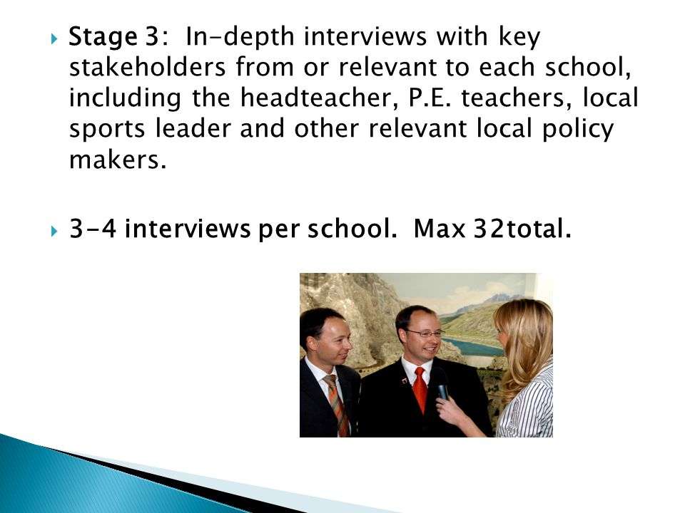  Stage 3: In-depth interviews with key stakeholders from or relevant to each school, including the headteacher, P.E.
