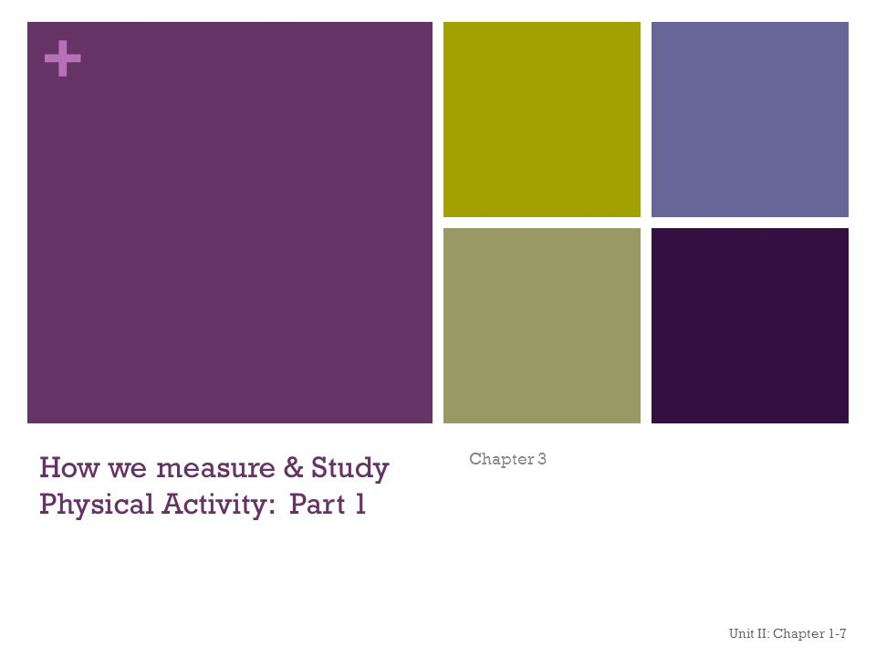 + How we measure & Study Physical Activity: Part 1 Chapter 3 Unit II: Chapter 1-7 1