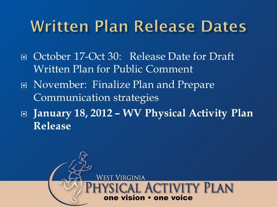  October 17-Oct 30: Release Date for Draft Written Plan for Public Comment  November: Finalize Plan and Prepare Communication strategies  January 18, 2012 – WV Physical Activity Plan Release