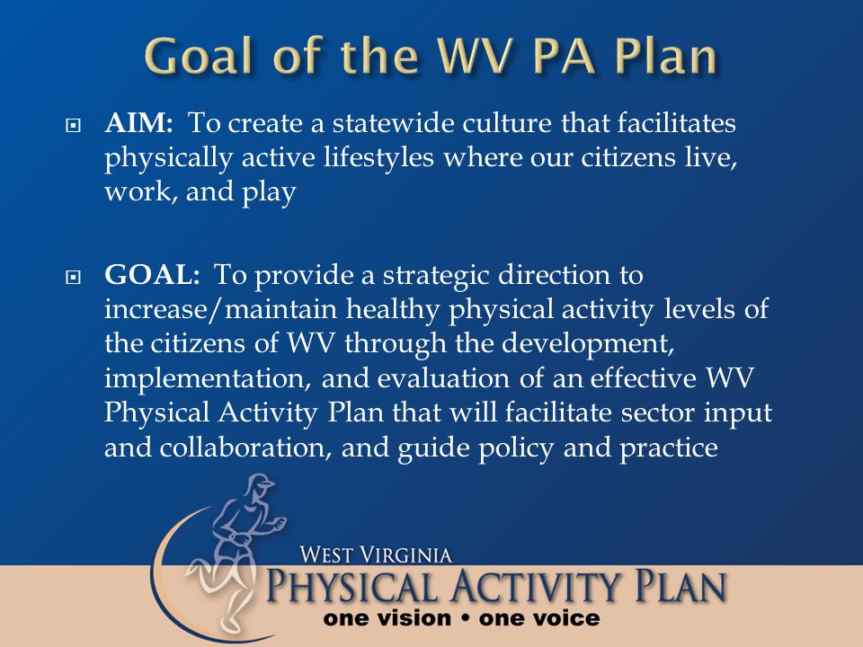  AIM: To create a statewide culture that facilitates physically active lifestyles where our citizens live, work, and play  GOAL: To provide a strate