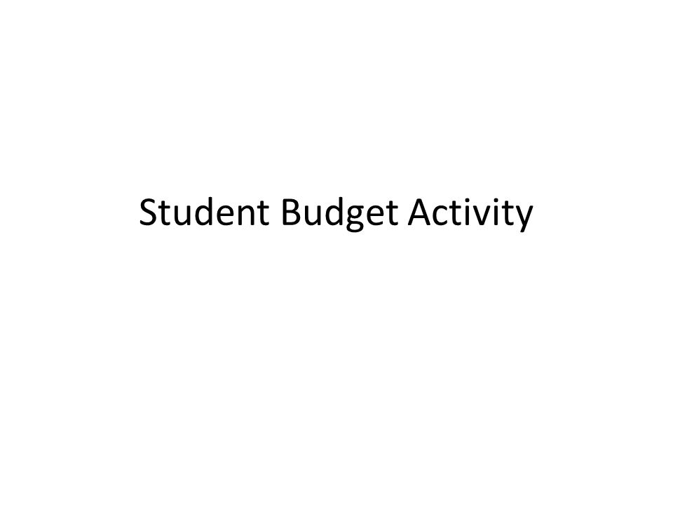 Student Budget Activity
