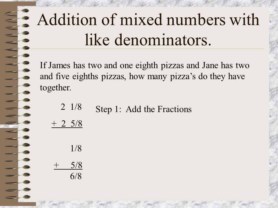 Definition Mixed Number = A mixed number is a whole number with a fraction attached. Example = 3 4/5, This is read as three and four fifths.
