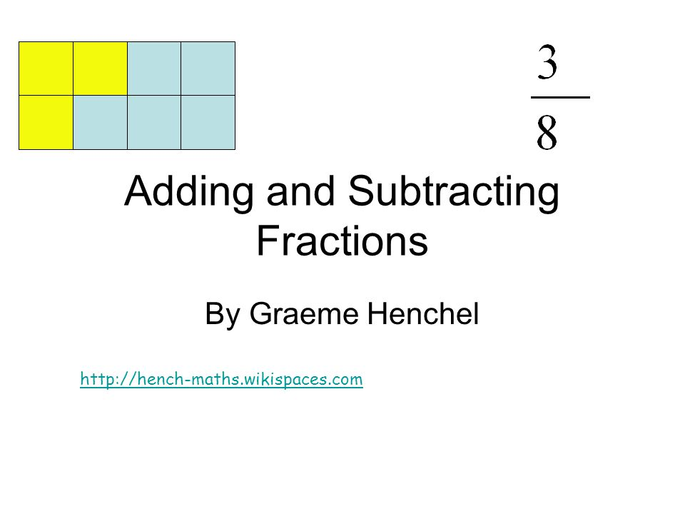 Adding and Subtracting Fractions By Graeme Henchel http://hench-maths.wikispaces.com