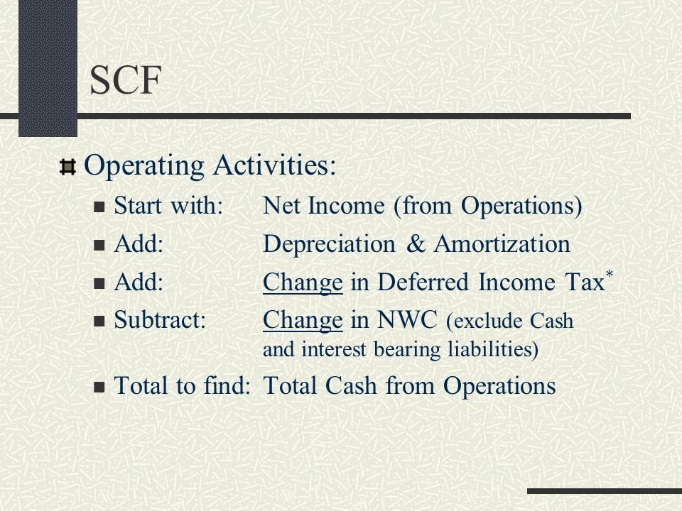 SCF Operating Activities: Start with:Net Income (from Operations) Add:Depreciation & Amortization Add:Change in Deferred Income Tax * Subtract:Change