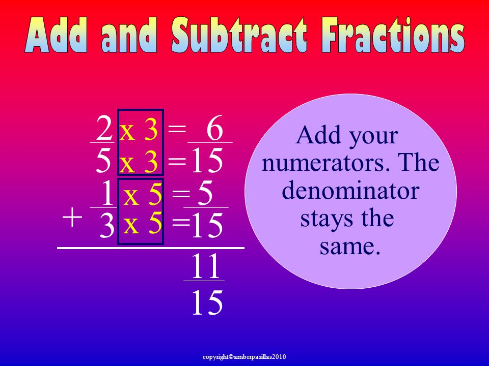 2 5 1 3 + Add your numerators. The denominator stays the same. 15 x 5 = x 3 = x 5 = x 3 = 5 6 11 15 copyright©amberpasillas2010