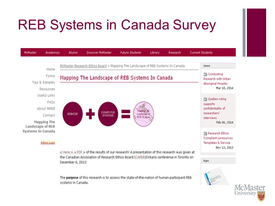 Purpose of the Research Project To obtain a descriptive snapshot of the human-participant REB systems landscape in Canada.