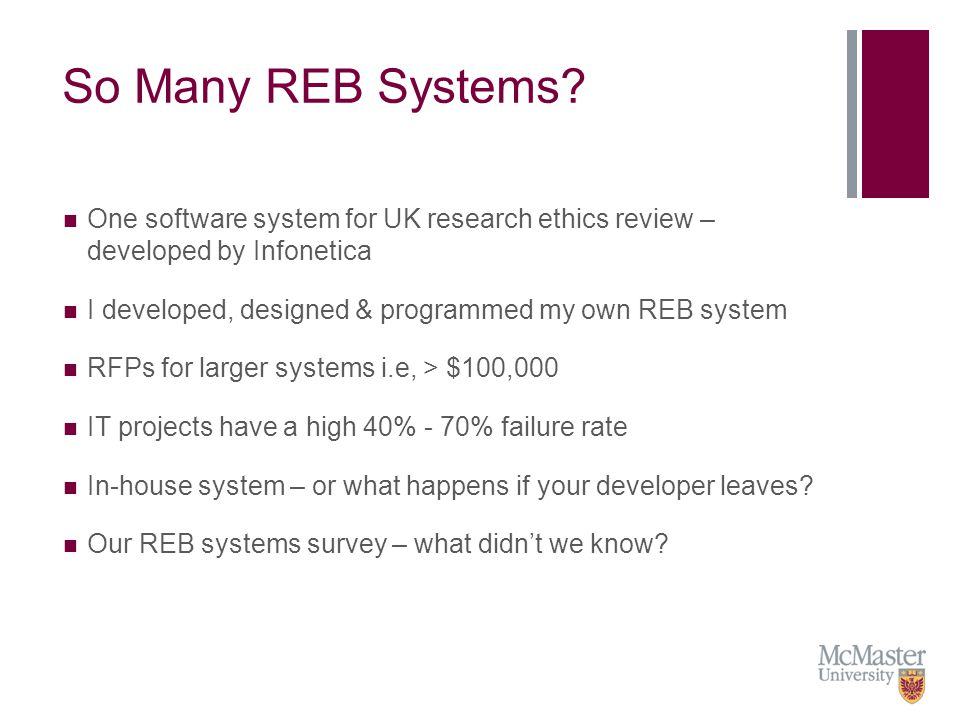 REB Systems in Canada Survey