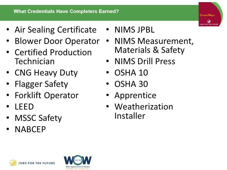 What Credentials Have Completers Earned.
