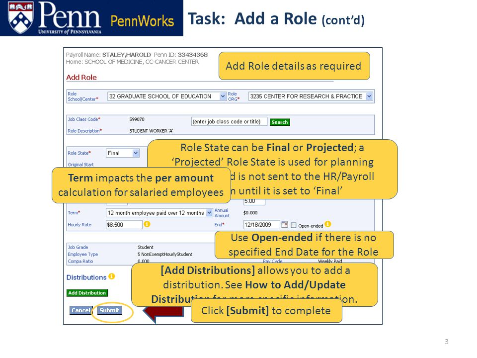 3 Add Role details as required [Add Distributions] allows you to add a distribution.