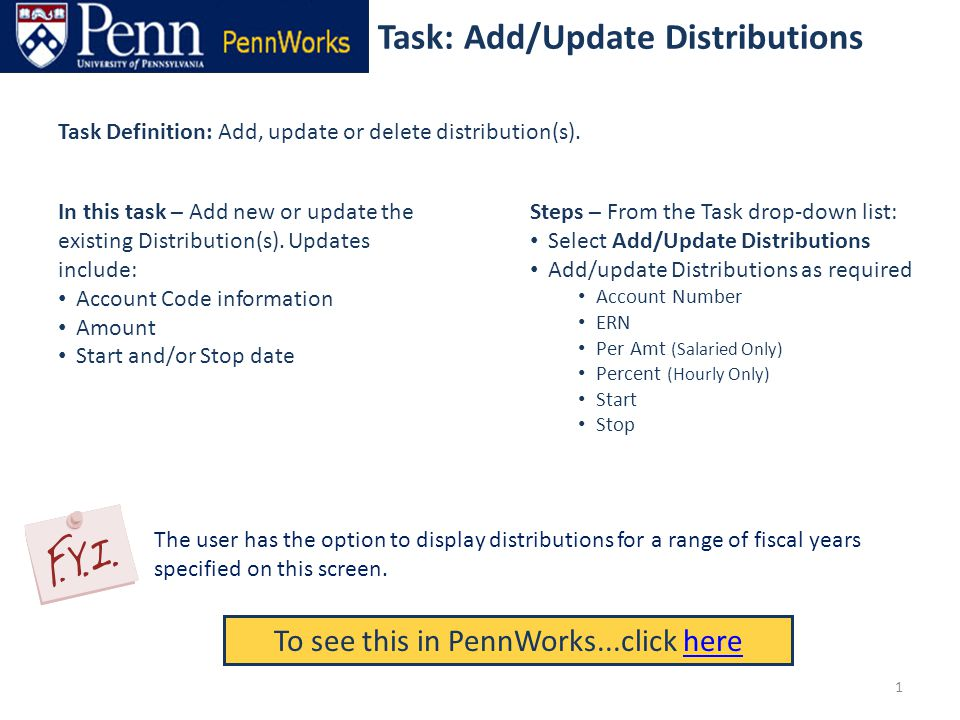 Task: Add/Update Distributions To see this in PennWorks...click herehere Task Definition: Add, update or delete distribution(s).