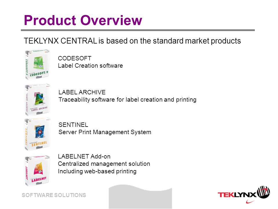 SOFTWARE SOLUTIONS Further information Contact teklynx_sales@teklynx.fr teklynx_sales@teklynx.fr Visit www.teklynx.eu www.teklynx.eu