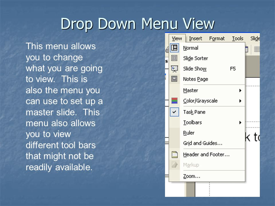 Drop Down Menu View This menu allows you to change what you are going to view.