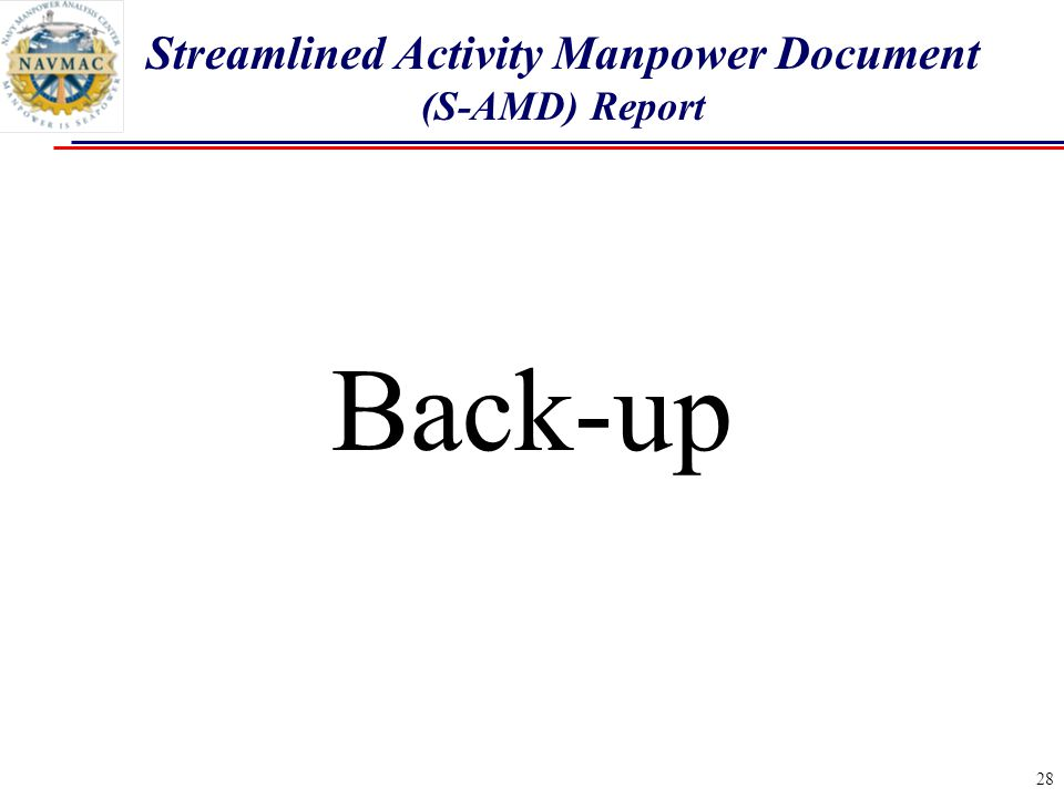 28 Back-up Streamlined Activity Manpower Document (S-AMD) Report