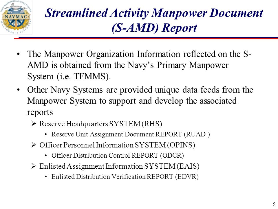 The Manpower Organization Information reflected on the S- AMD is obtained from the Navy's Primary Manpower System (i.e.