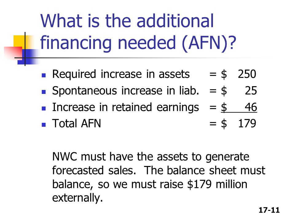 17-11 What is the additional financing needed (AFN).