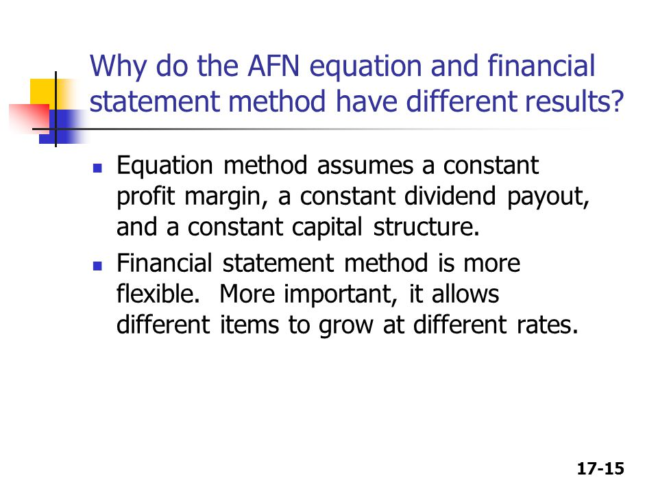 17-15 Why do the AFN equation and financial statement method have different results.