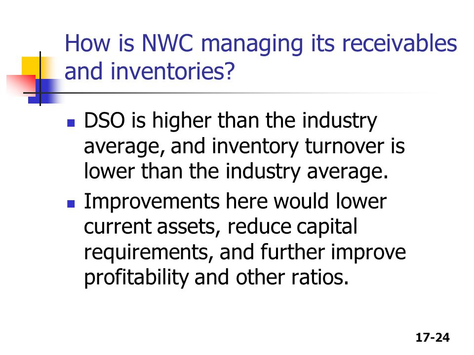 17-24 How is NWC managing its receivables and inventories.