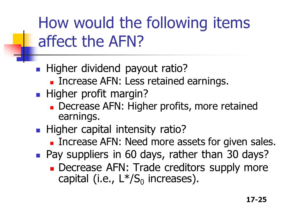 17-25 How would the following items affect the AFN.