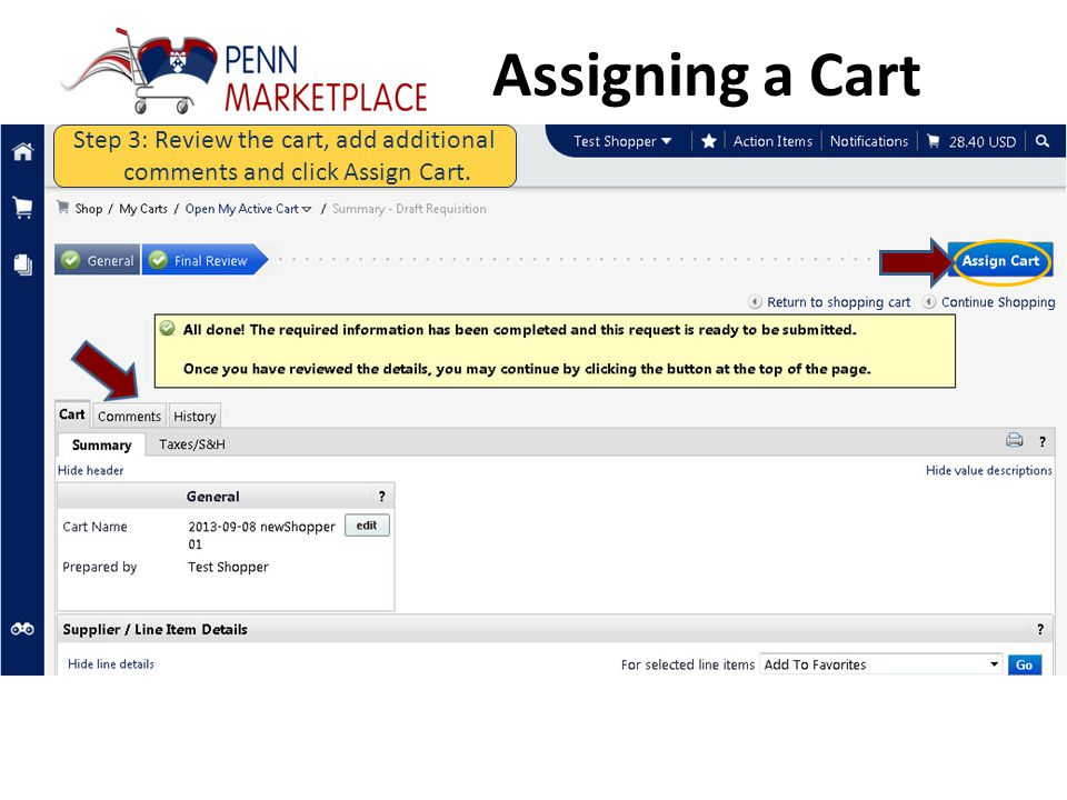 Assigning a Cart Step 2: Click Proceed to Checkout.