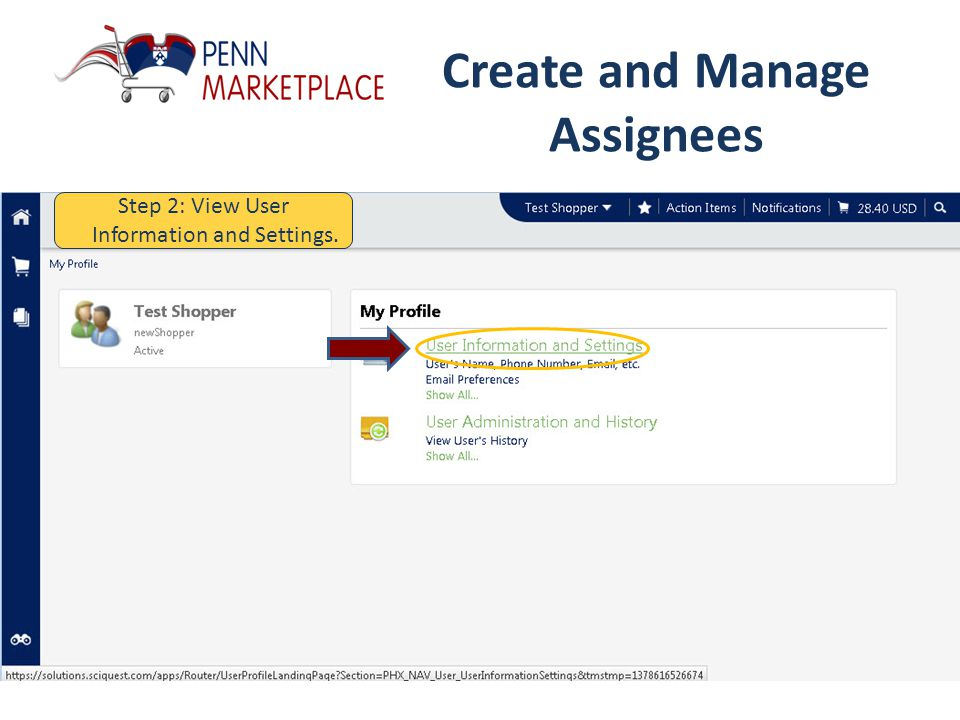 Create and Manage Assignees Step 1: Click on your name along the top.