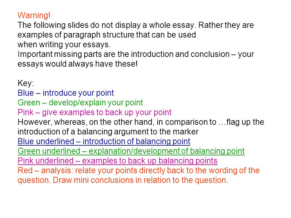 Warning. The following slides do not display a whole essay.