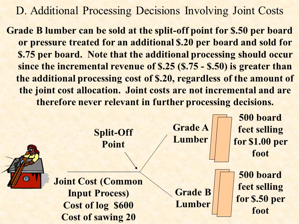 D. Additional Processing Decisions Involving Joint Costs Grade B lumber can be sold at the split-off point for $.50 per board or pressure treated for