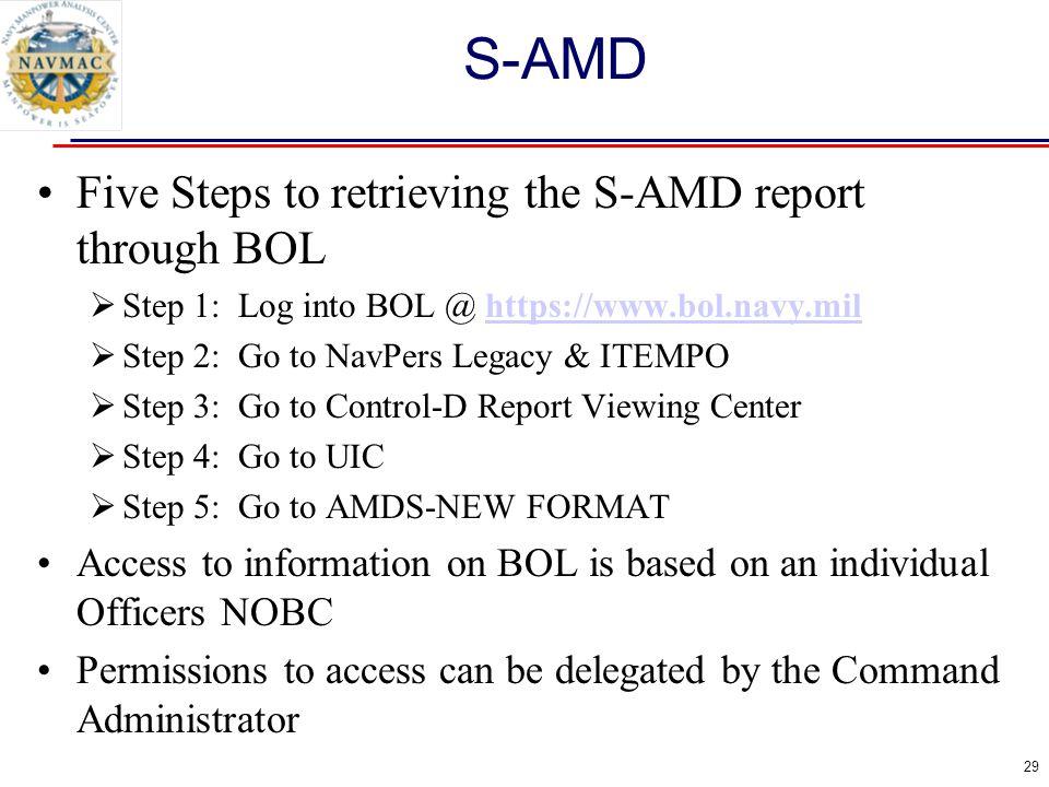 29 Five Steps to retrieving the S-AMD report through BOL  Step 1: Log into BOL @ https://www.bol.navy.milhttps://www.bol.navy.mil  Step 2: Go to Nav