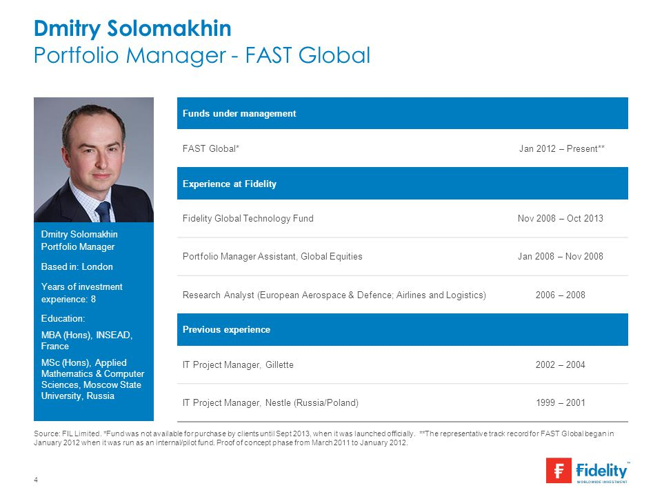 Dmitry Solomakhin Portfolio Manager - FAST Global 4 Funds under management FAST Global* Jan 2012 – Present** Experience at Fidelity Fidelity Global Te