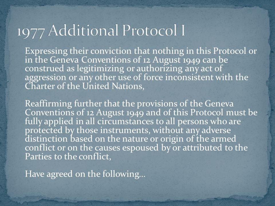 Expressing their conviction that nothing in this Protocol or in the Geneva Conventions of 12 August 1949 can be construed as legitimizing or authorizi