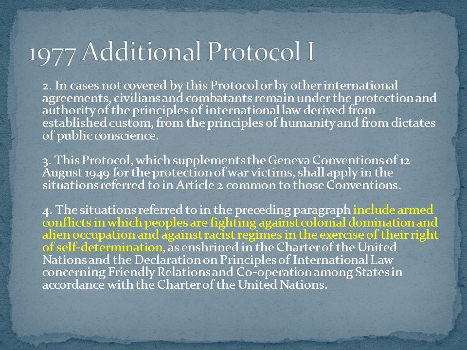 2. In cases not covered by this Protocol or by other international agreements, civilians and combatants remain under the protection and authority of t
