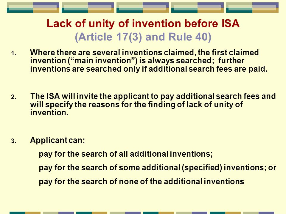 Examples of combinations of different categories of claims that may satisfy the requirement of unity of invention 1.