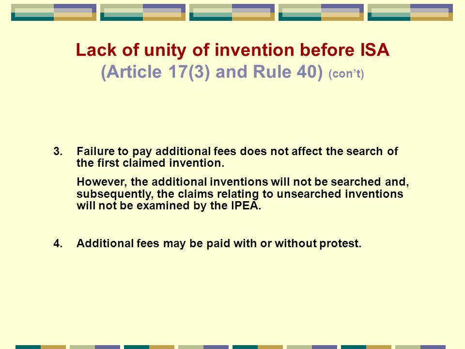 Examples of combinations of different categories of claims that may satisfy the requirement of unity of invention 2.An independent claim for a given process, and – an independent claim for an apparatus or means specifically designed for carrying out said process