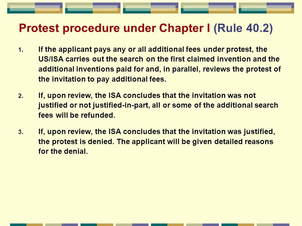 Protest procedure under Chapter I (Rule 40.2) 1.