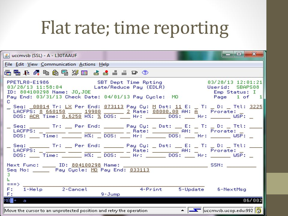 Flat rate; time reporting