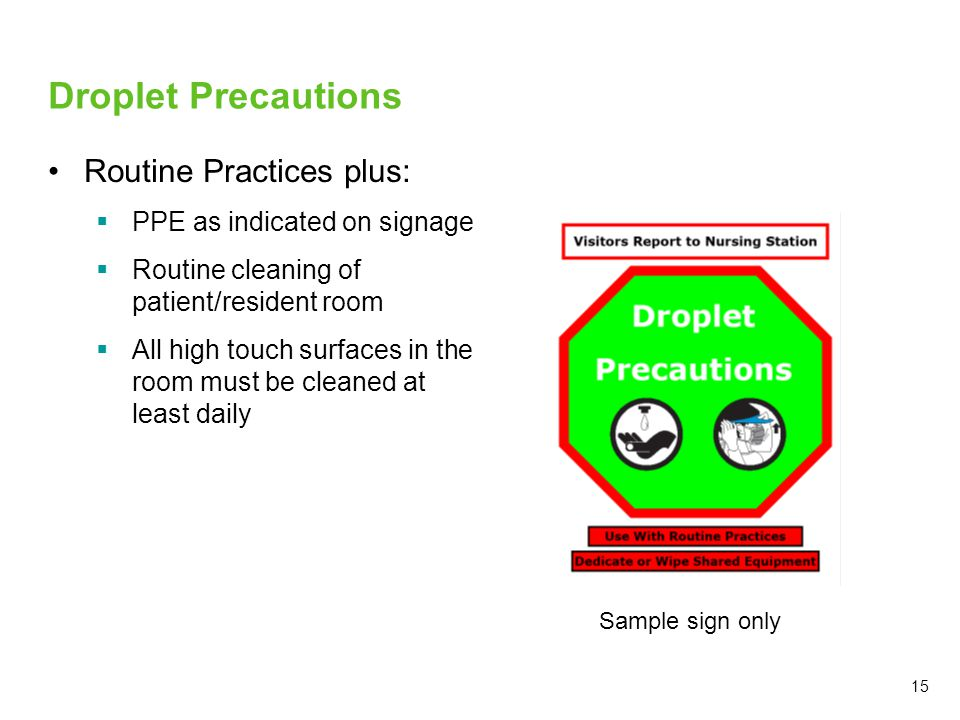Droplet Precautions Routine Practices plus:  PPE as indicated on signage  Routine cleaning of patient/resident room  All high touch surfaces in the