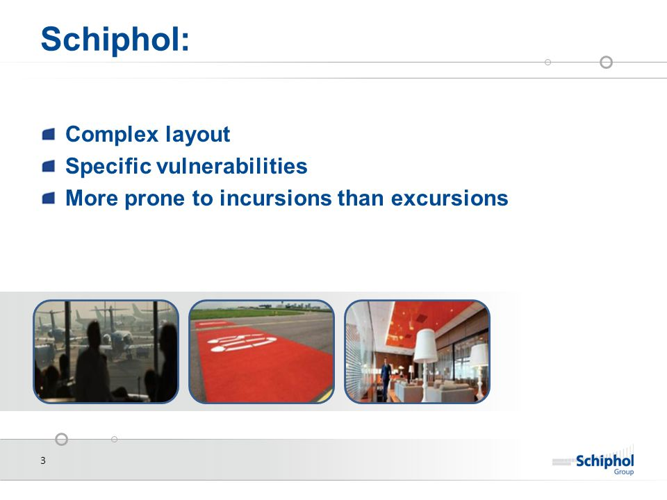 3 Schiphol: Complex layout Specific vulnerabilities More prone to incursions than excursions